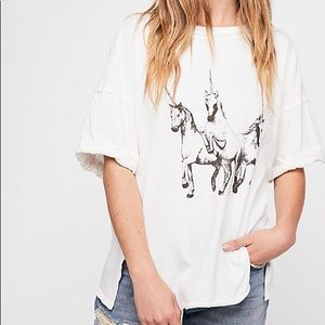 NWT Free People We The Free Unicorn Tee SZ:Small